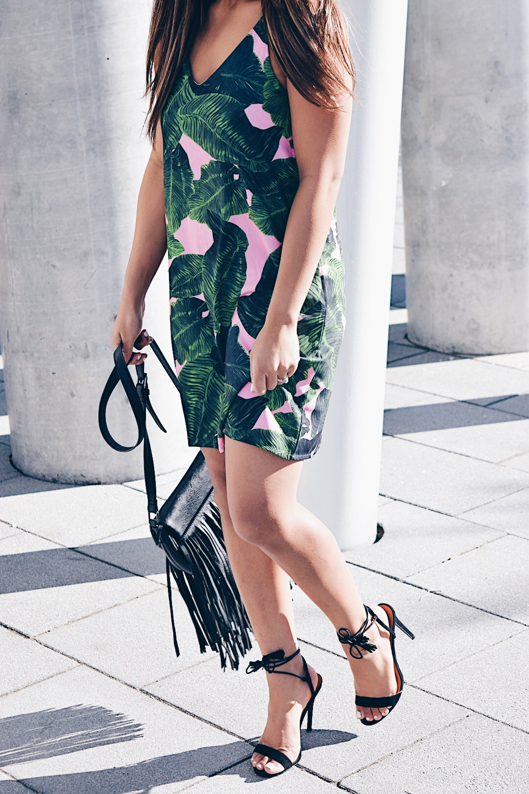 palm print slip dress