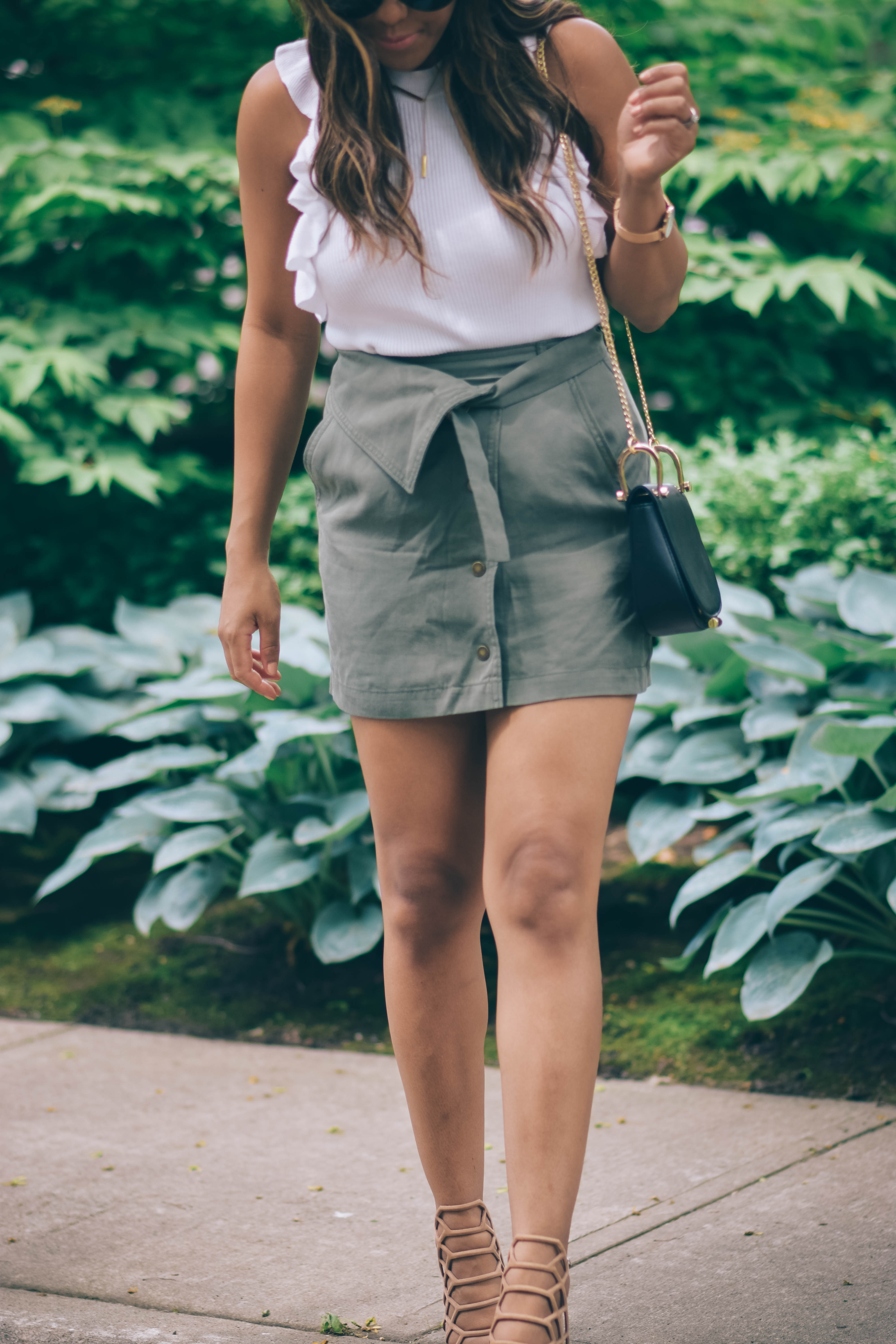 khaki green skirt
