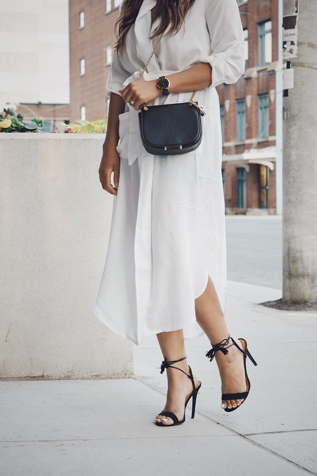 Fashion Blogger Lauren Sheriff Wearing a White Shirt Dress From SheIn