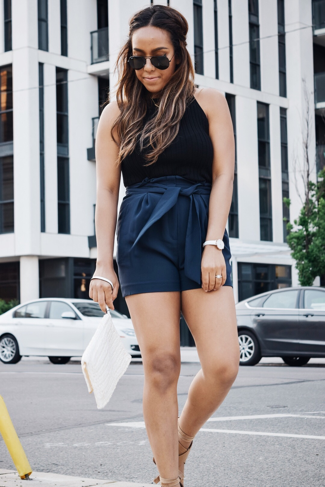 Fashion Blogger Lauren Sheriff From Basic Babe Wearing Summer Shorts From H&M