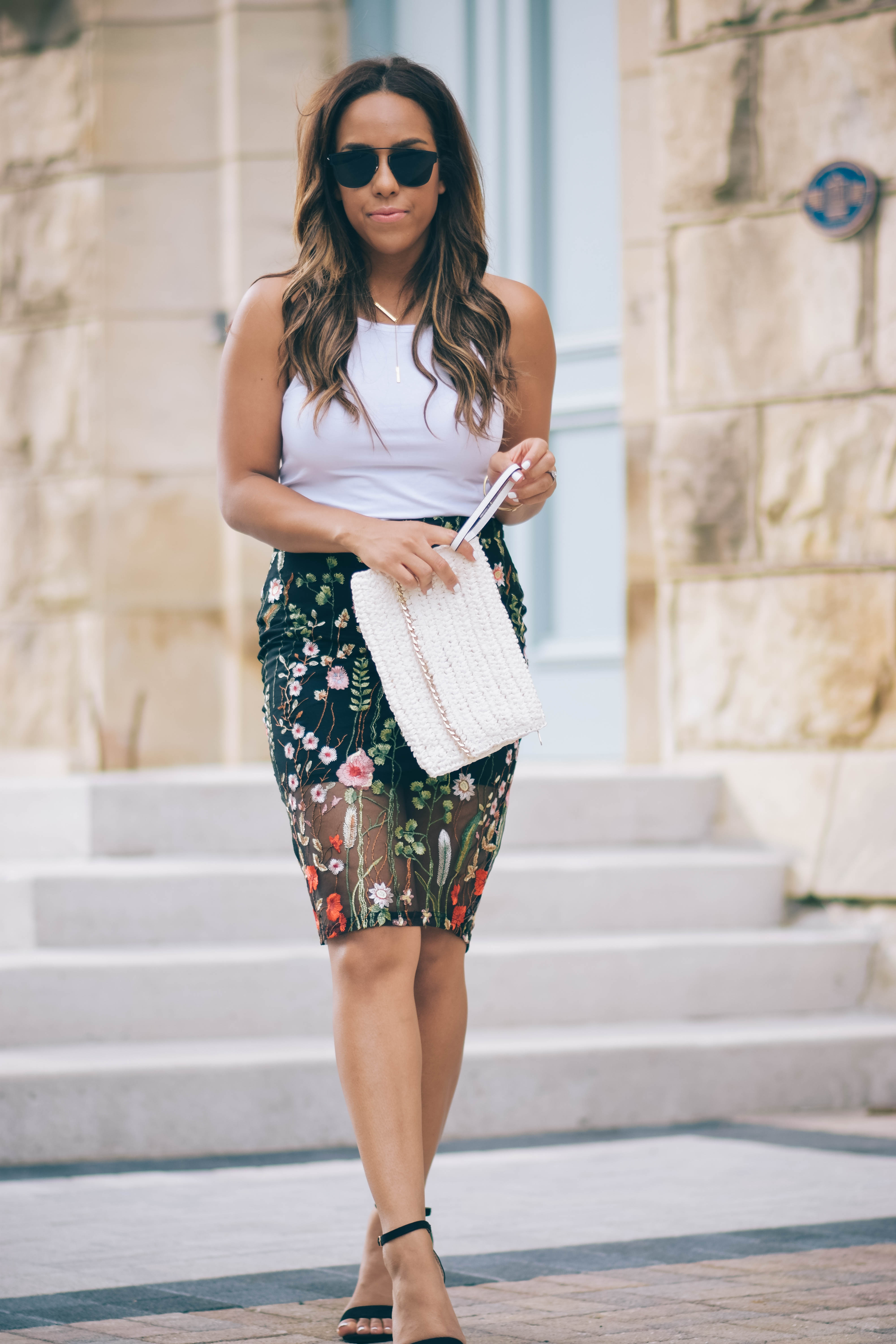 embroidered pencil skirts