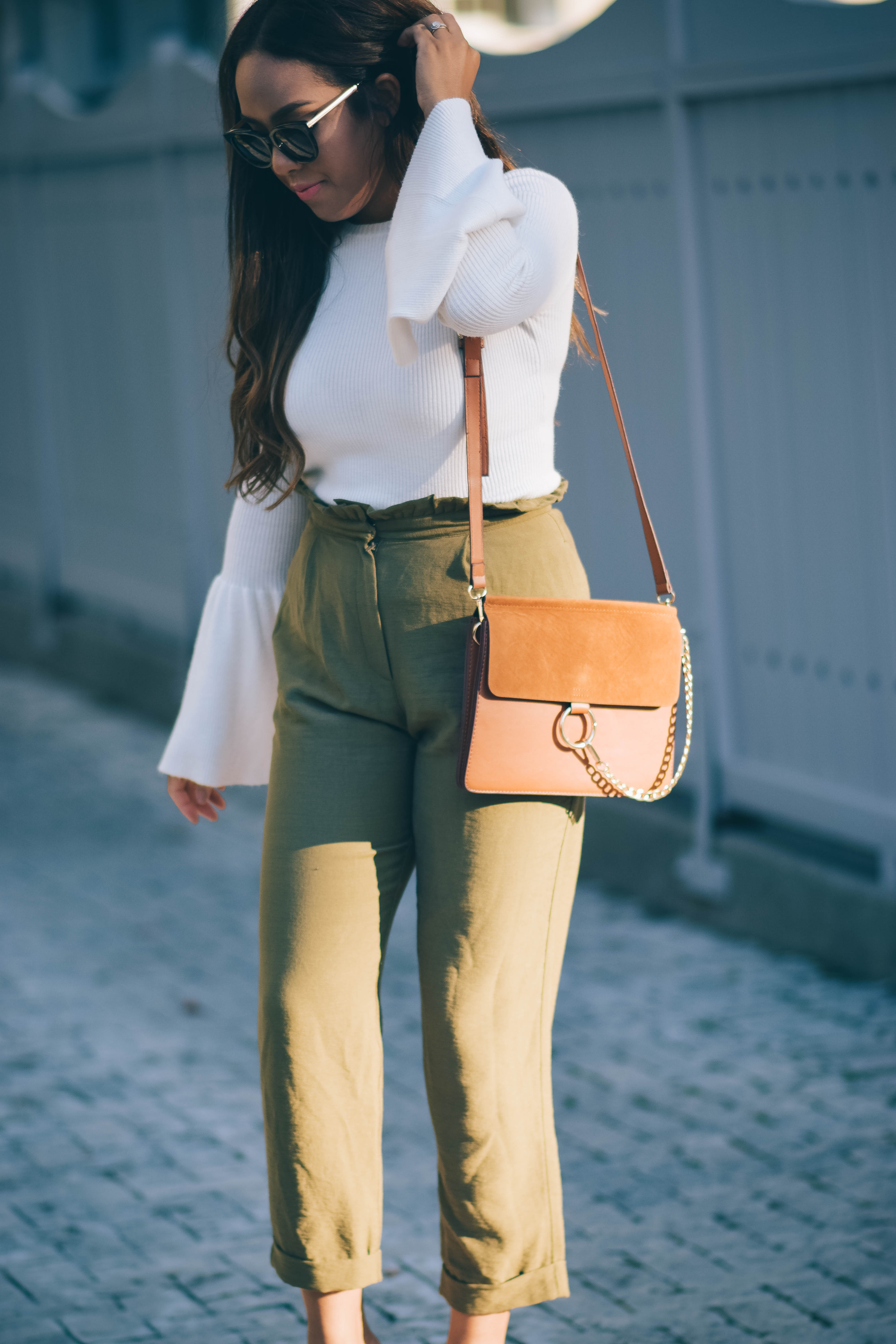 olive trousers knit bell sleeve top
