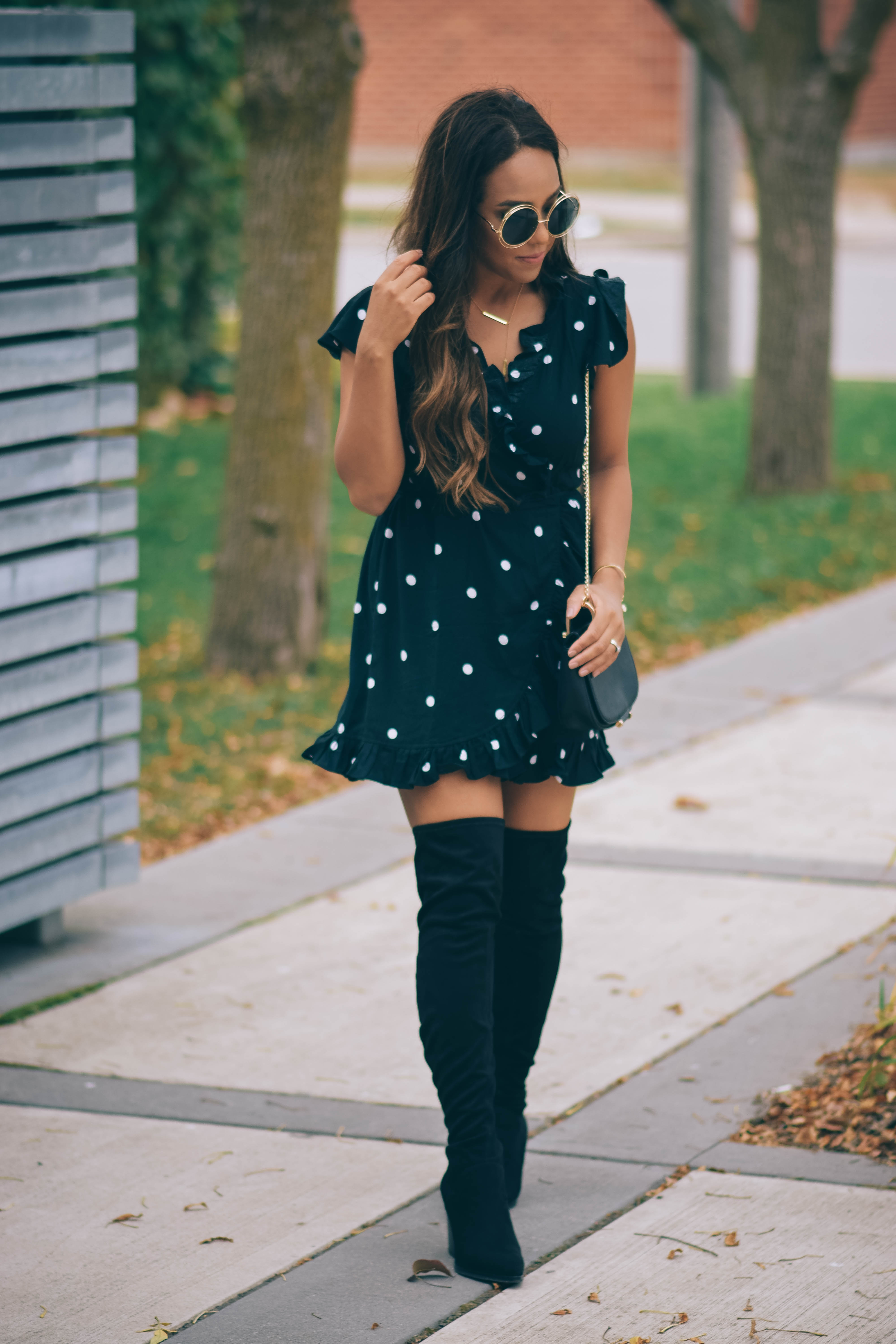 Fashion Blogger Lauren Sheriff of Basic Babe in Motel Rocks Rica Dress and Marc Fisher Boots