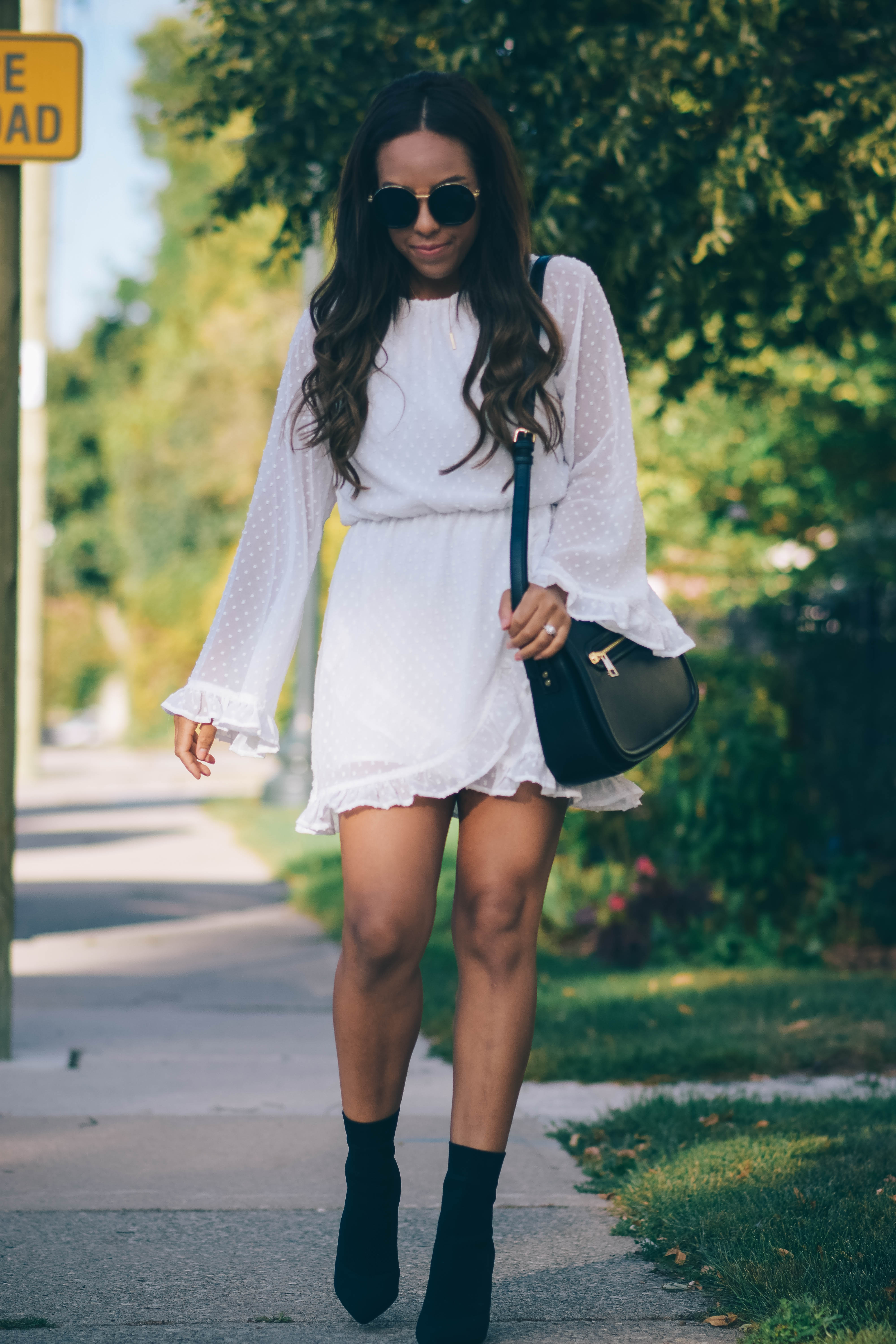 Fashion Blogger Lauren Sheriff of Basic Babe in Missguided Dress and Aldo Sock Boots
