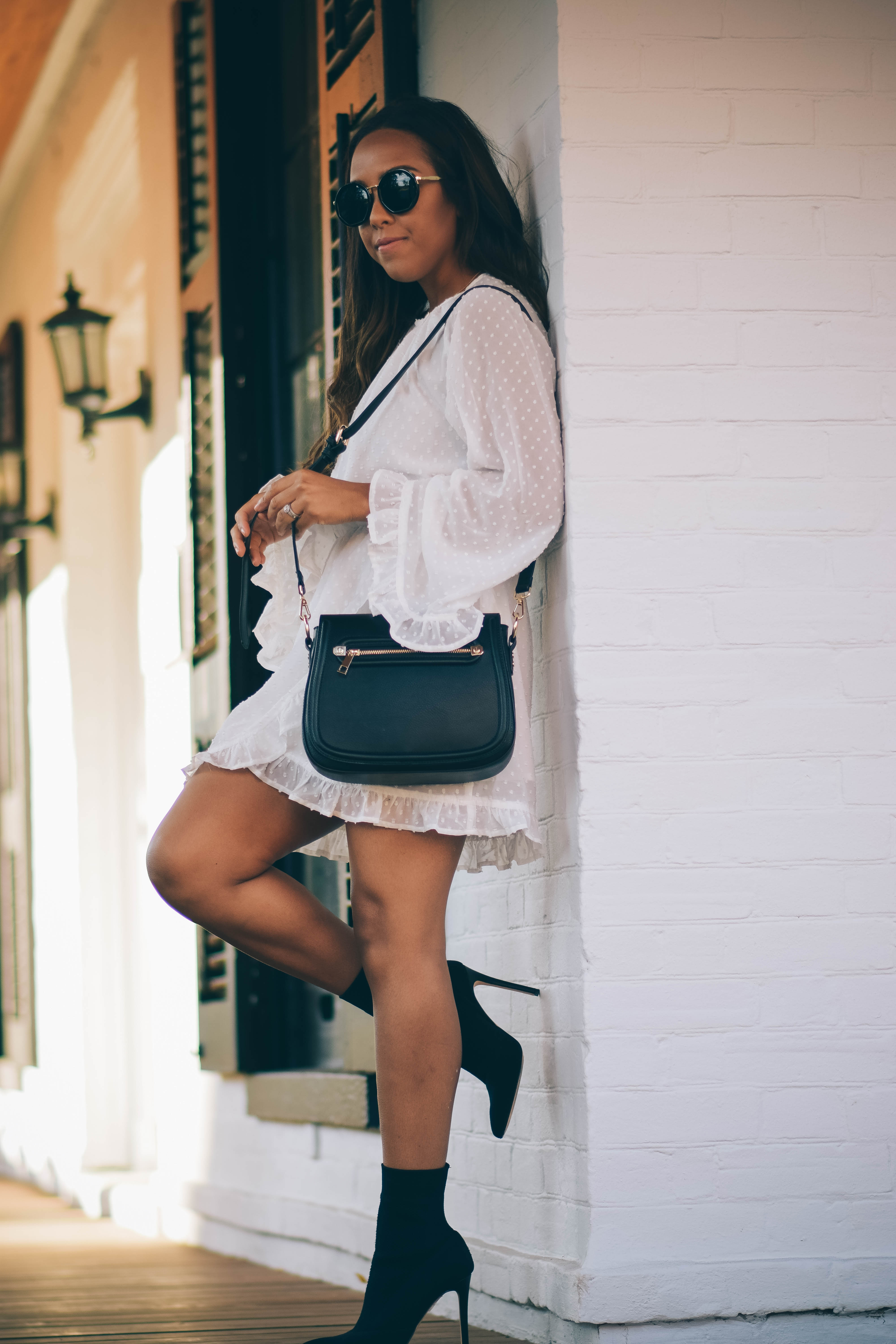 Fashion Blogger Lauren Sheriff from Basic Babe in Missguided Dress and Aldo Sock Boots