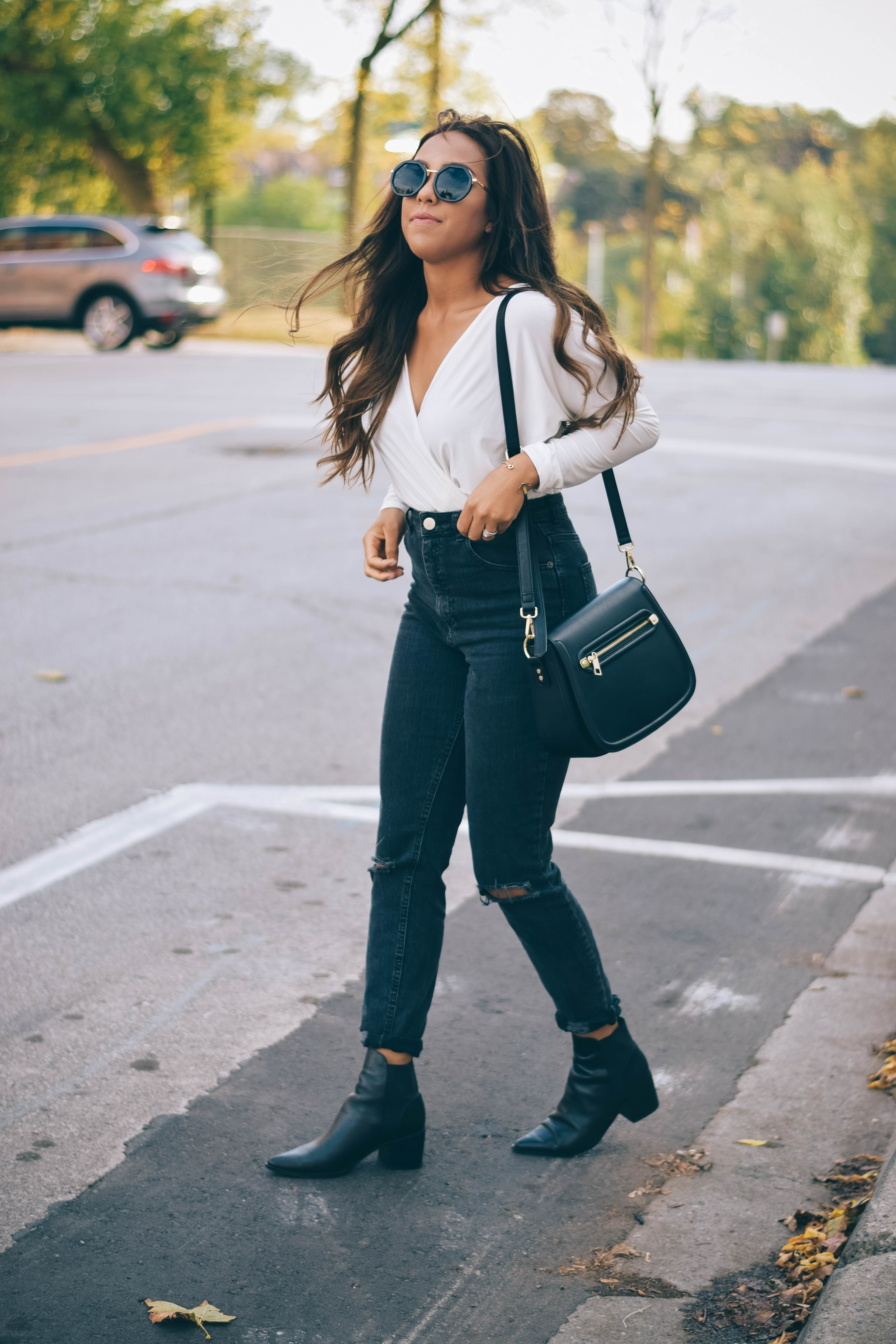 Fashion Blogger Lauren Sheriff of Basic Babe in ASOS Fairleigh Jeans and Missguided Bodysuit