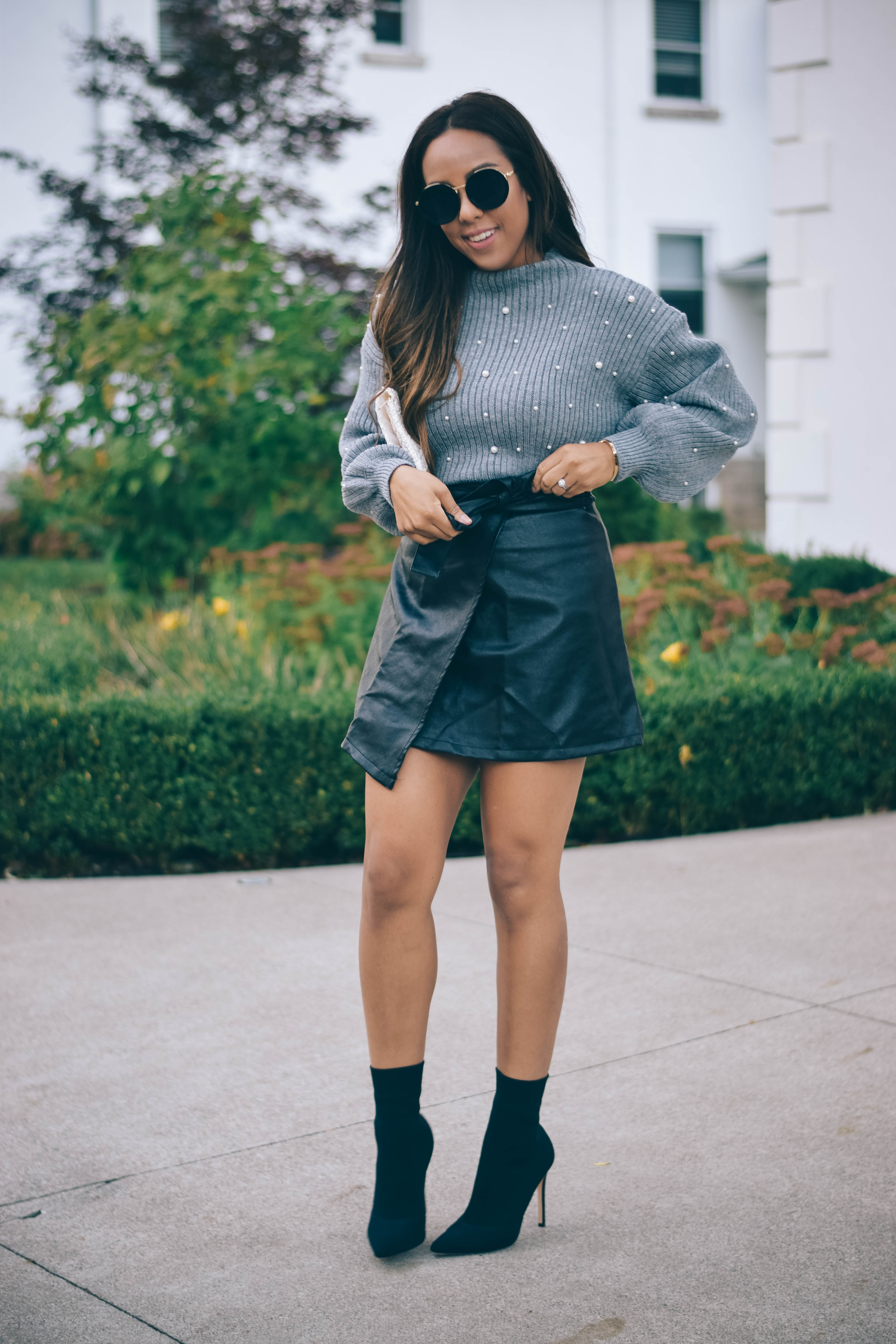 Fashion Blogger Lauren Sheriff of Basic Babe in Shein Pearl Sweater and Boohoo Leather Skirt