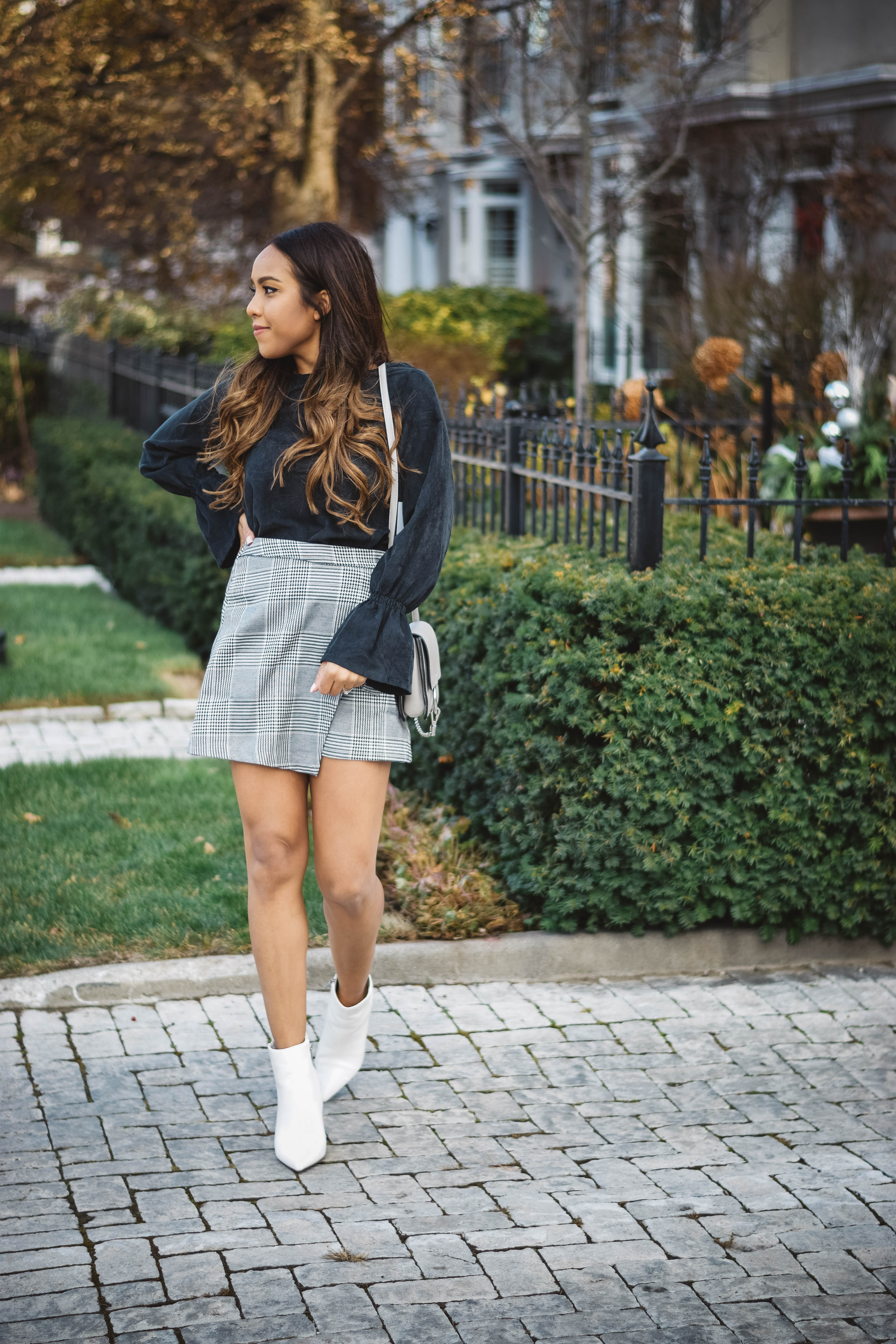 Fashion Blogger Lauren Sheriff of Basic Babe in Plaid Skirt from Shop Basic Babe, Corduroy Bell Sleeve Top from Shop Basic Babe, Forever 21 Booties