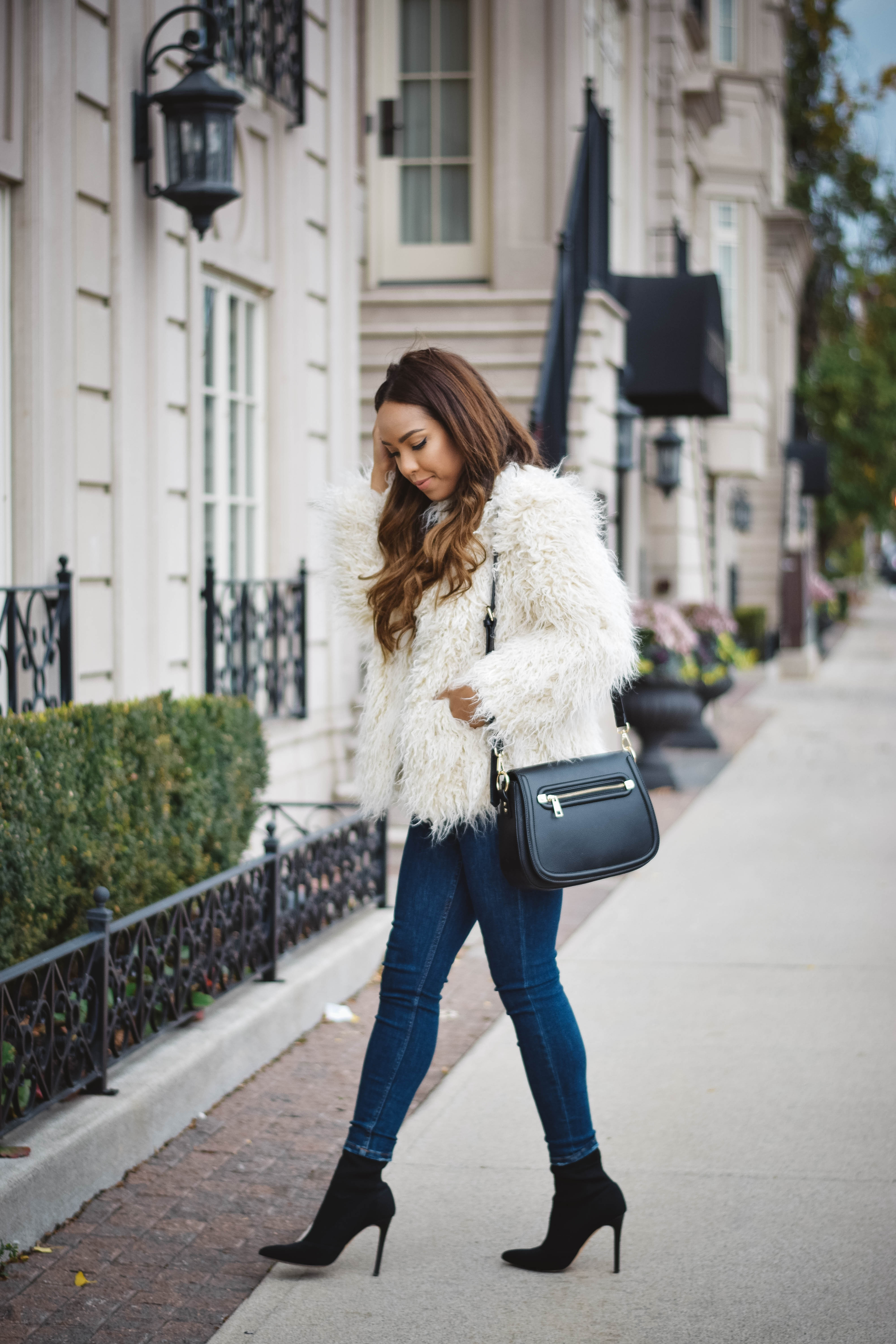 Faux Fur High Waisted Denim