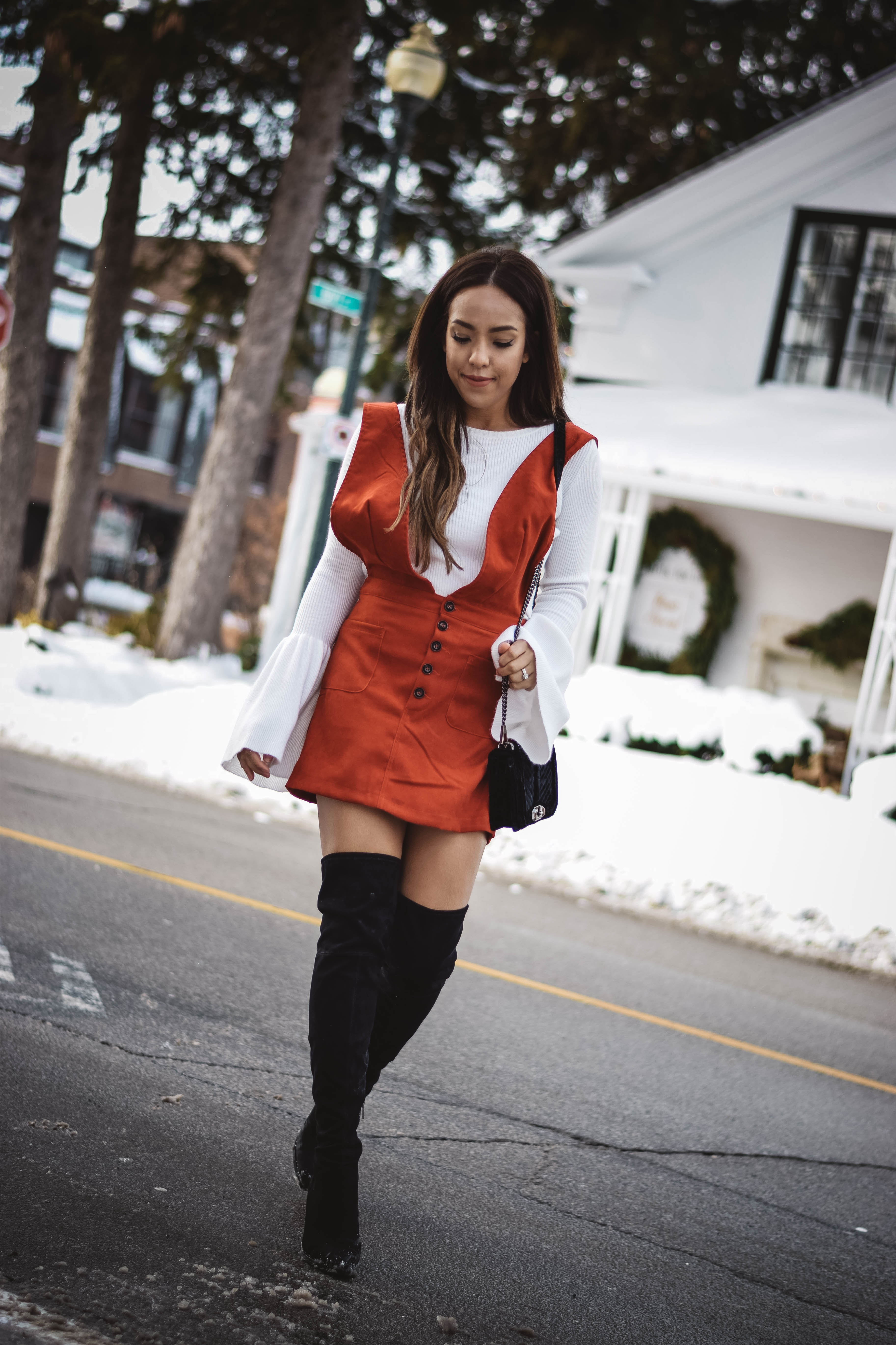 Fashion Blogger Lauren Sheriff of Basic Babe in Shein Dress, Marc Fisher Boots, Forever 21 Bell Sleeve Top, Rebecca Minkoff Chevron Purse